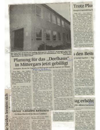 02/99 Planung für Dorfhaus gebilligt