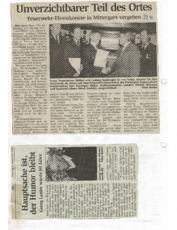 10/99 Feuerwehr – Ehrenkreuze in Mittergars verliehen