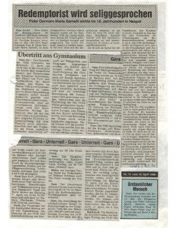 09/96 Redemptorist wird selig gesprochen